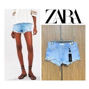 NEW Zara Distressed Denim Cutoff Jean Shorts